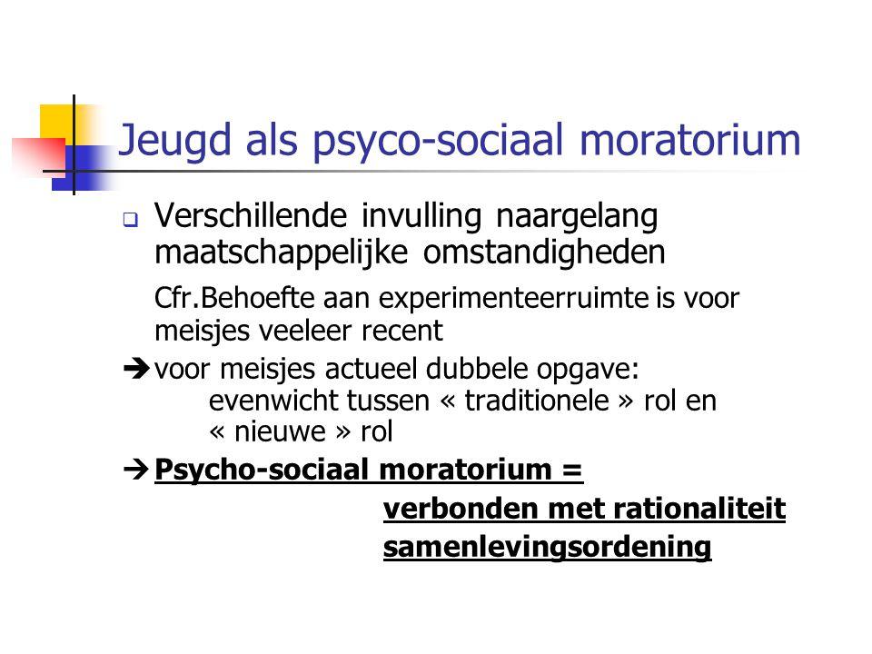 Jeugd als psyco-sociaal moratorium  Verschillende invulling naargelang maatschappelijke omstandigheden Cfr.Behoefte aan experimenteerruimte is voor m