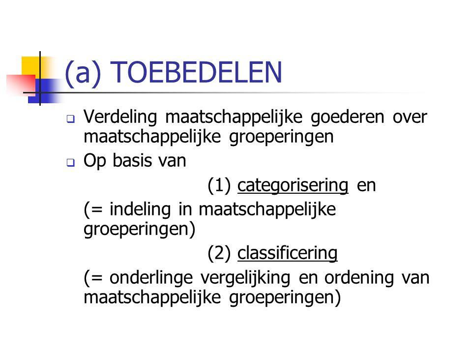 (a) TOEBEDELEN  Verdeling maatschappelijke goederen over maatschappelijke groeperingen  Op basis van (1) categorisering en (= indeling in maatschapp