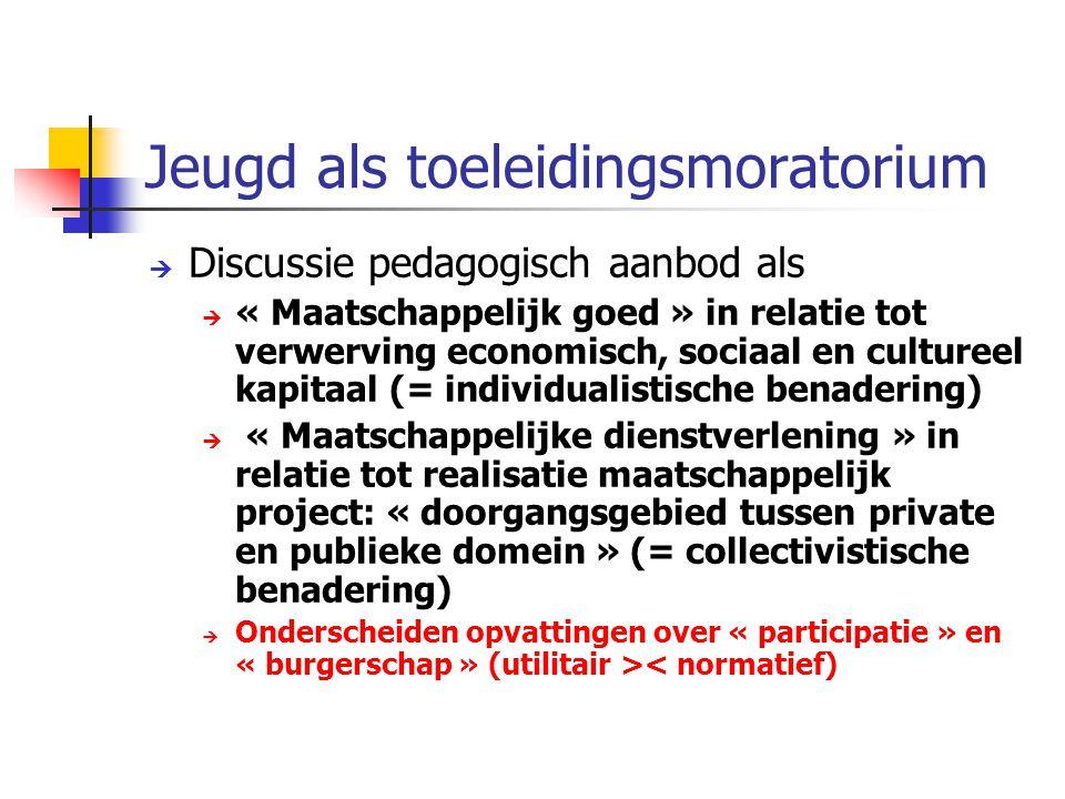 Jeugd als toeleidingsmoratorium  Discussie pedagogisch aanbod als  « Maatschappelijk goed » in relatie tot verwerving economisch, sociaal en culture