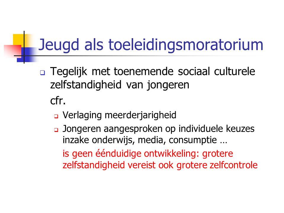 Jeugd als toeleidingsmoratorium  Tegelijk met toenemende sociaal culturele zelfstandigheid van jongeren cfr.  Verlaging meerderjarigheid  Jongeren