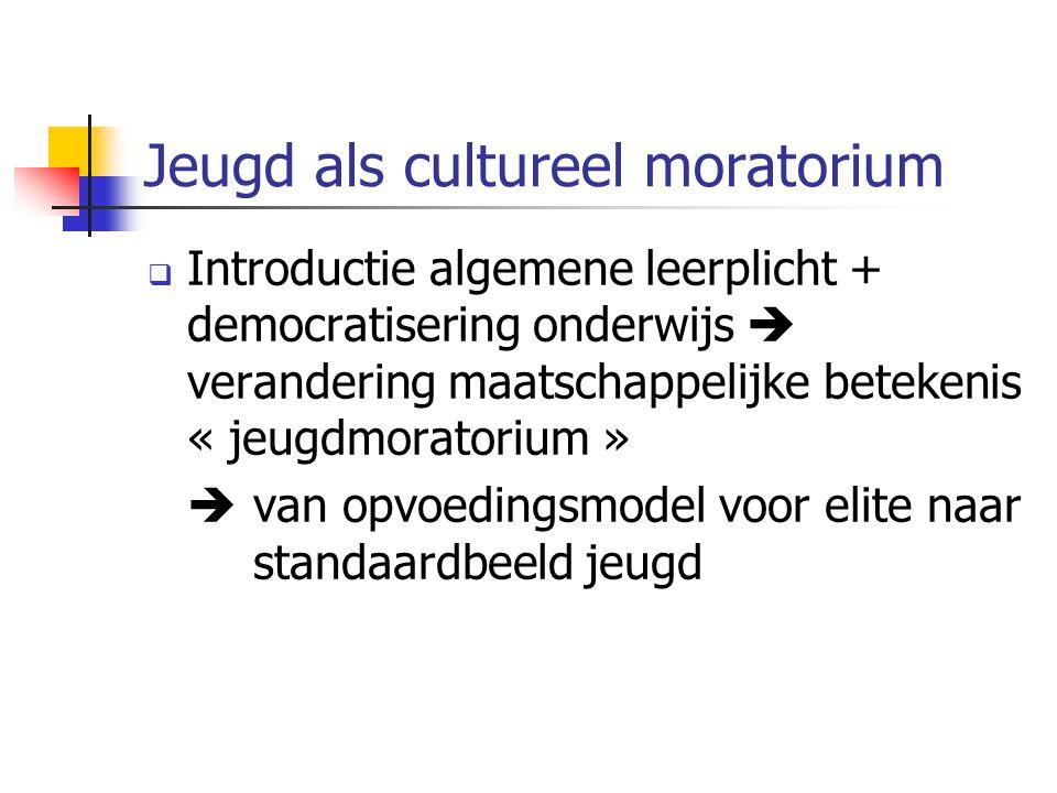 Jeugd als cultureel moratorium  Introductie algemene leerplicht + democratisering onderwijs  verandering maatschappelijke betekenis « jeugdmoratoriu