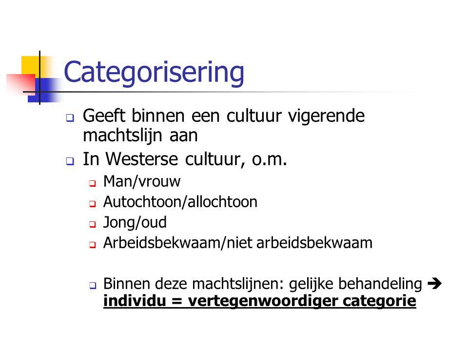 Categorisering  Geeft binnen een cultuur vigerende machtslijn aan  In Westerse cultuur, o.m.  Man/vrouw  Autochtoon/allochtoon  Jong/oud  Arbeid