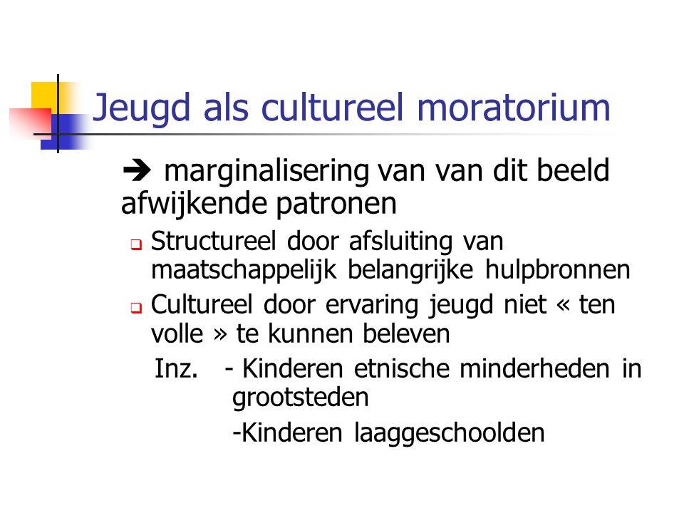 Jeugd als cultureel moratorium  marginalisering van van dit beeld afwijkende patronen  Structureel door afsluiting van maatschappelijk belangrijke h