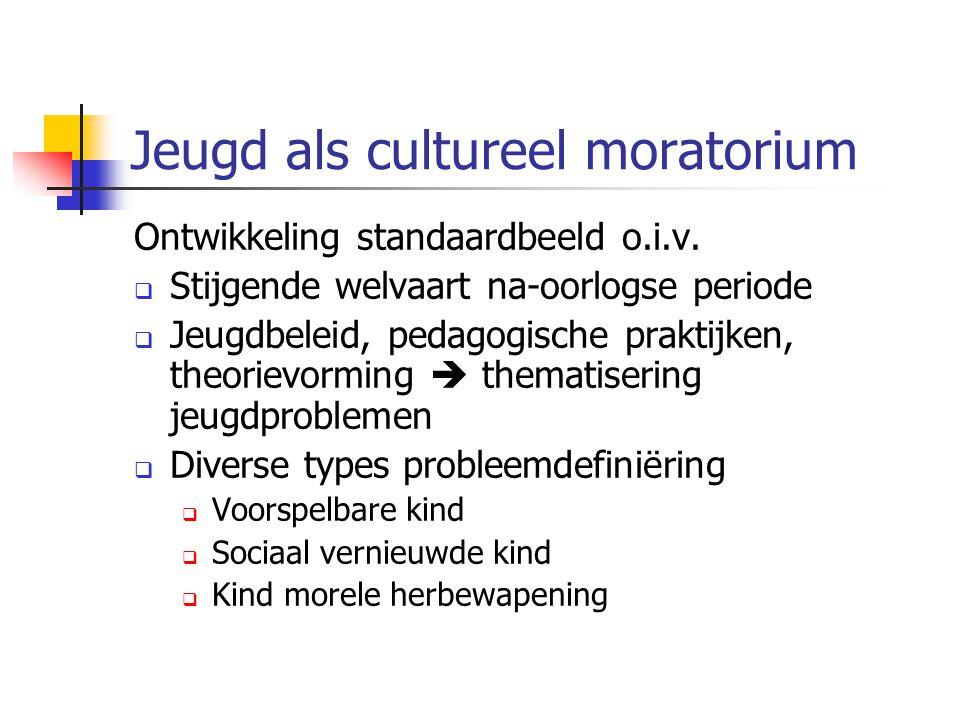 Jeugd als cultureel moratorium Ontwikkeling standaardbeeld o.i.v.  Stijgende welvaart na-oorlogse periode  Jeugdbeleid, pedagogische praktijken, the