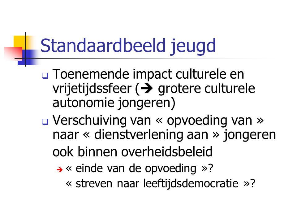 Standaardbeeld jeugd  Toenemende impact culturele en vrijetijdssfeer (  grotere culturele autonomie jongeren)  Verschuiving van « opvoeding van » n