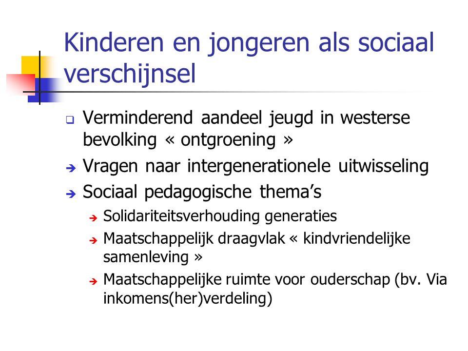 Kinderen en jongeren als sociaal verschijnsel  Verminderend aandeel jeugd in westerse bevolking « ontgroening »  Vragen naar intergenerationele uitw