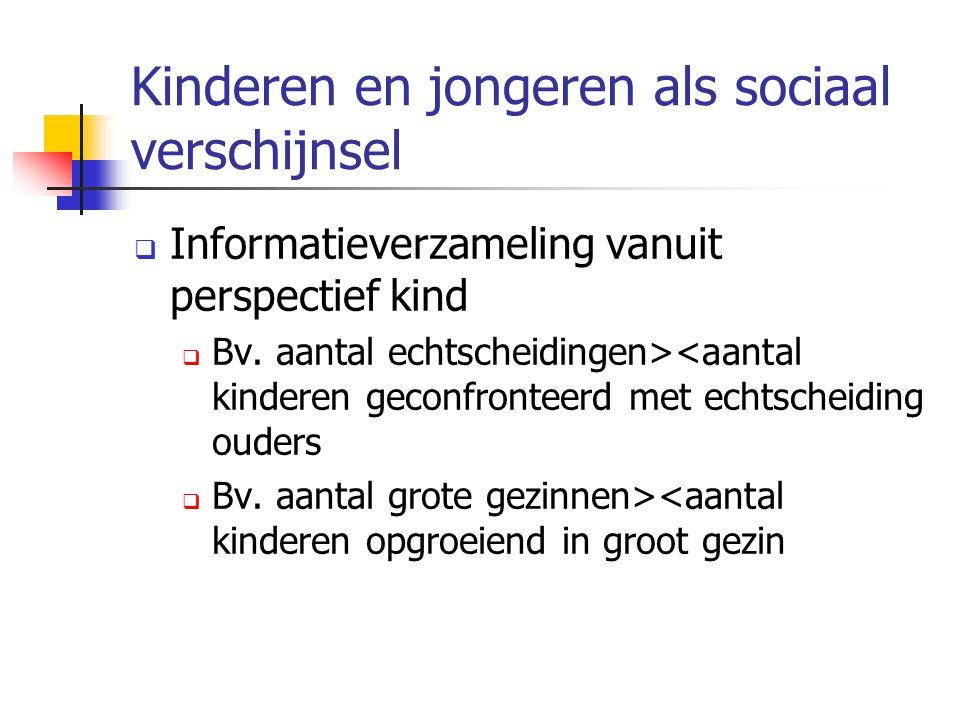 Kinderen en jongeren als sociaal verschijnsel  Informatieverzameling vanuit perspectief kind  Bv. aantal echtscheidingen><aantal kinderen geconfront