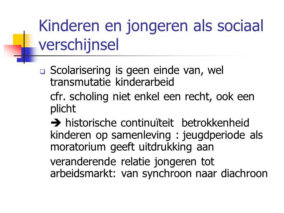 Kinderen en jongeren als sociaal verschijnsel  Scolarisering is geen einde van, wel transmutatie kinderarbeid cfr. scholing niet enkel een recht, ook