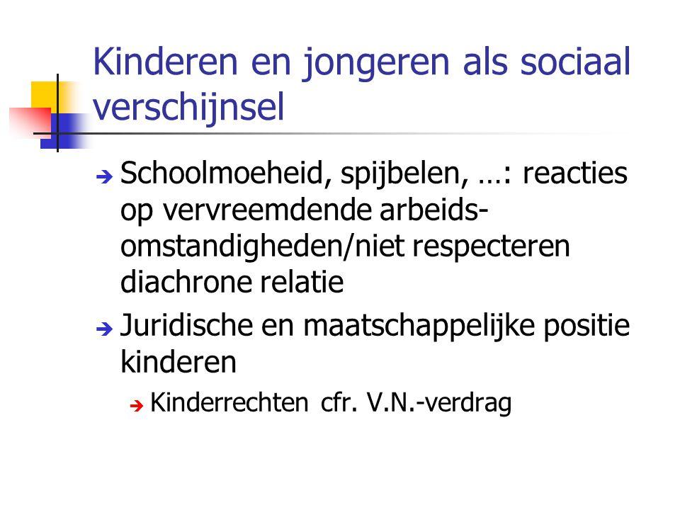 Kinderen en jongeren als sociaal verschijnsel  Schoolmoeheid, spijbelen, …: reacties op vervreemdende arbeids- omstandigheden/niet respecteren diachr