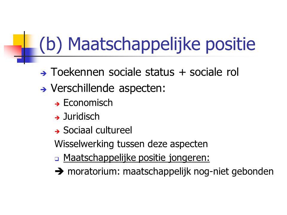 (b) Maatschappelijke positie  Toekennen sociale status + sociale rol  Verschillende aspecten:  Economisch  Juridisch  Sociaal cultureel Wisselwer