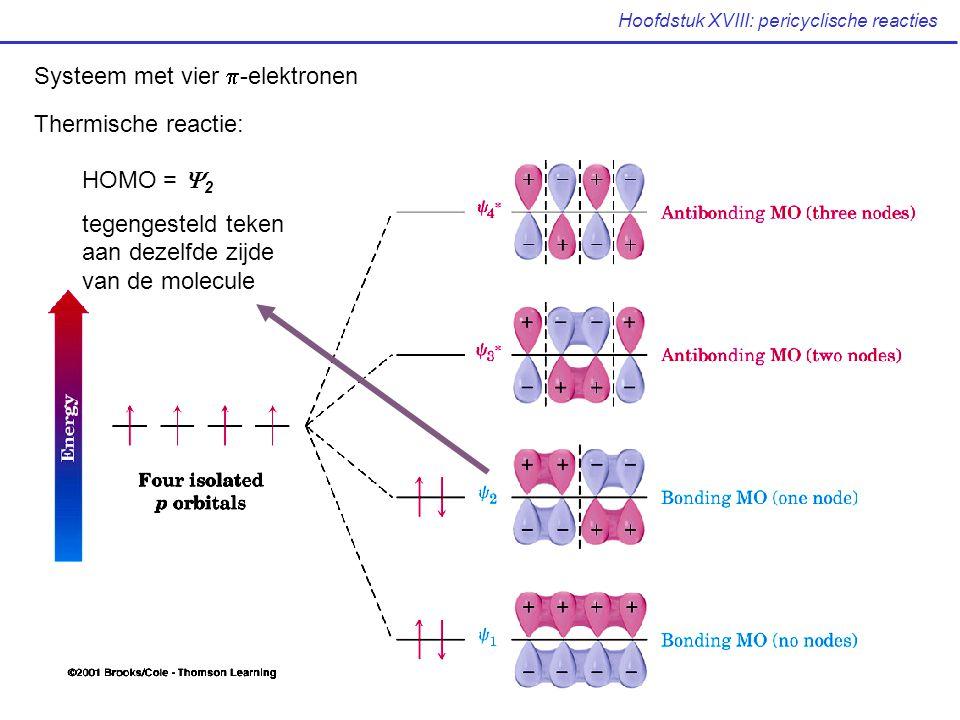 Hoofdstuk XVIII: pericyclische reacties Systeem met vier  -elektronen Thermische reactie: HOMO =  2 tegengesteld teken aan dezelfde zijde van de mol