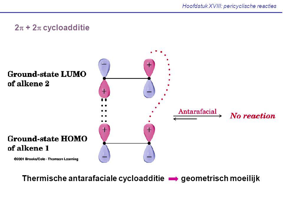 Hoofdstuk XVIII: pericyclische reacties 2  + 2  cycloadditie Thermische antarafaciale cycloadditie geometrisch moeilijk