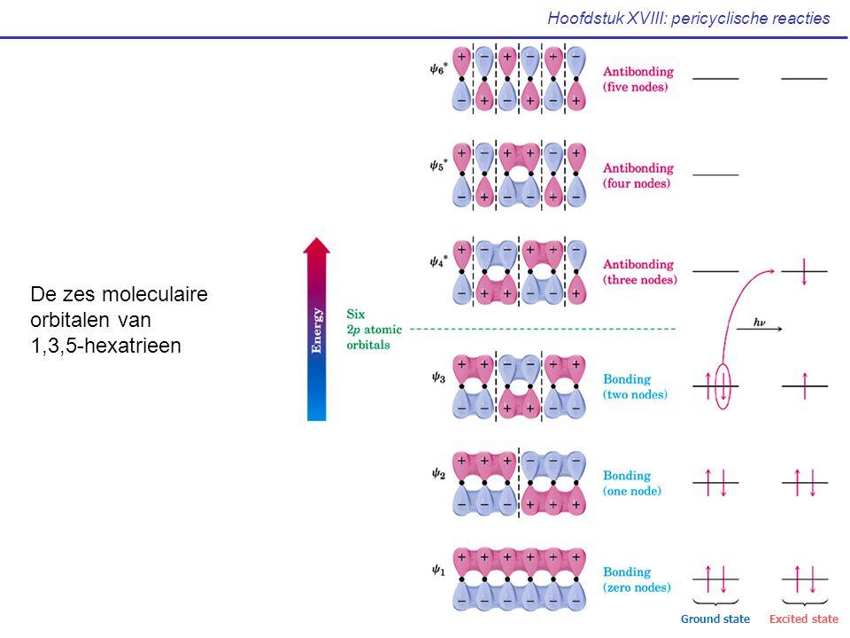 Hoofdstuk XVIII: pericyclische reacties De zes moleculaire orbitalen van 1,3,5-hexatrieen Ground stateExcited state