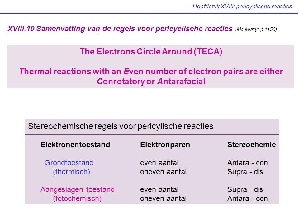 Hoofdstuk XVIII: pericyclische reacties XVIII.10 Samenvatting van de regels voor pericyclische reacties (Mc Murry: p 1150) The Electrons Circle Around