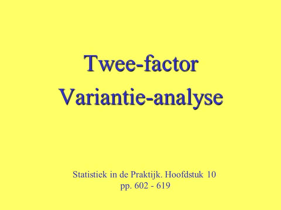 Twee-factorVariantie-analyse Statistiek in de Praktijk. Hoofdstuk 10 pp. 602 - 619