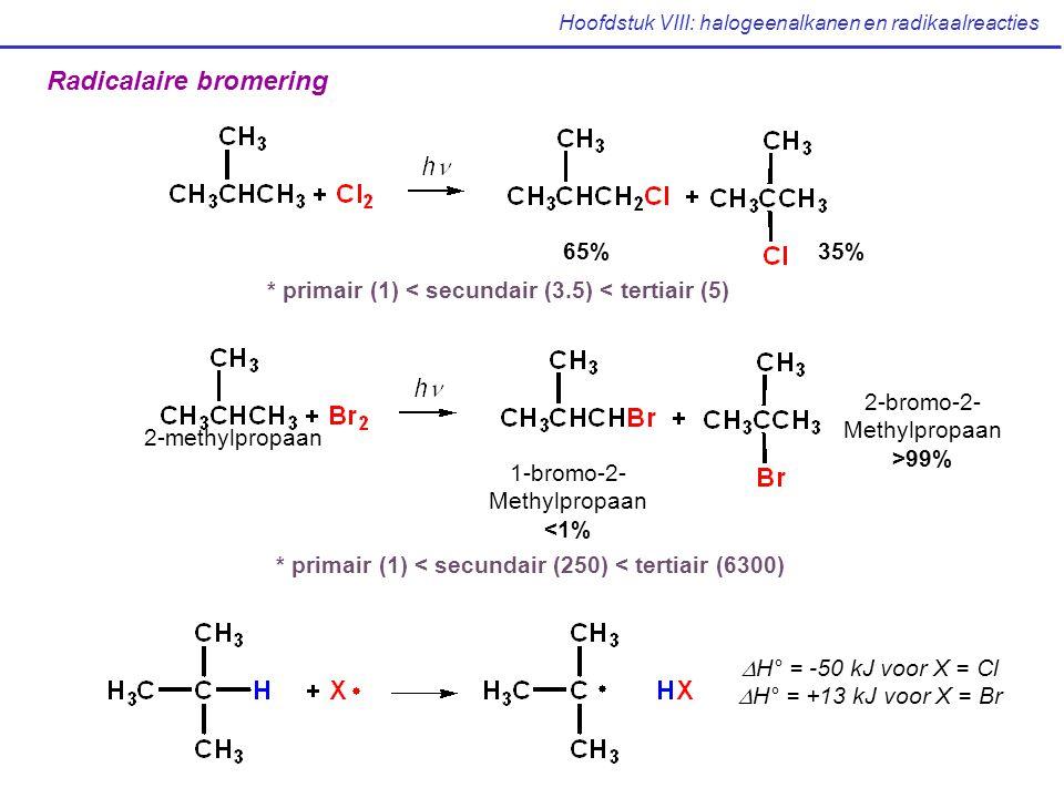 Hoofdstuk VIII: halogeenalkanen en radikaalreacties Radicalaire bromering 2-methylpropaan 1-bromo-2- Methylpropaan <1% 2-bromo-2- Methylpropaan >99% * primair (1) < secundair (250) < tertiair (6300)  H° = -50 kJ voor X = Cl  H° = +13 kJ voor X = Br 65%35% * primair (1) < secundair (3.5) < tertiair (5)