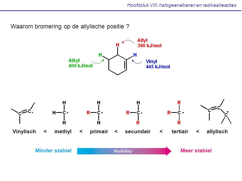 Hoofdstuk VIII: halogeenalkanen en radikaalreacties Waarom bromering op de allylische positie ? Vinylisch < methyl < primair < secundair < tertiair <