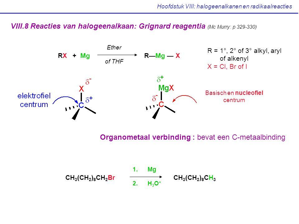 Hoofdstuk VIII: halogeenalkanen en radikaalreacties VIII.8 Reacties van halogeenalkaan: Grignard reagentia (Mc Murry: p 329-330) RX + Mg R—Mg — X Ethe