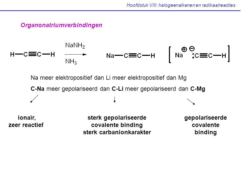 Hoofdstuk VIII: halogeenalkanen en radikaalreacties Na meer elektropositief dan Li meer elektropositief dan Mg C-Na meer gepolariseerd dan C-Li meer gepolariseerd dan C-Mg Organonatriumverbindingen ionair, zeer reactief sterk gepolariseerde covalente binding sterk carbanionkarakter gepolariseerde covalente binding