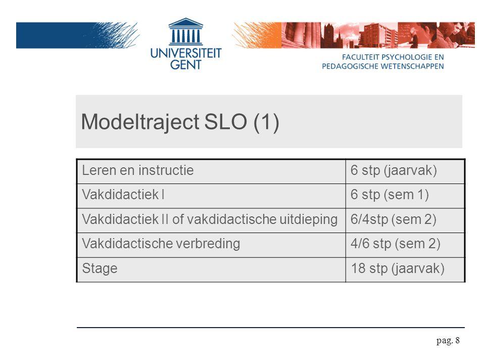 Modeltraject SLO (1) Leren en instructie6 stp (jaarvak) Vakdidactiek I6 stp (sem 1) Vakdidactiek II of vakdidactische uitdieping6/4stp (sem 2) Vakdidactische verbreding4/6 stp (sem 2) Stage18 stp (jaarvak) pag.