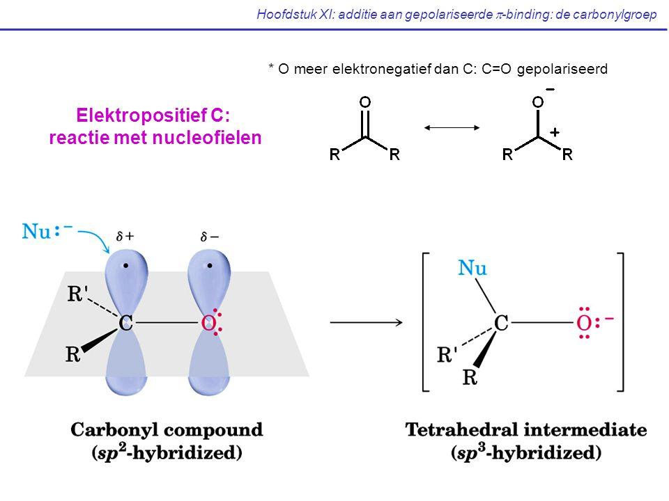 Hoofdstuk XI: additie aan gepolariseerde  -binding: de carbonylgroep * O meer elektronegatief dan C: C=O gepolariseerd Elektropositief C: reactie met nucleofielen