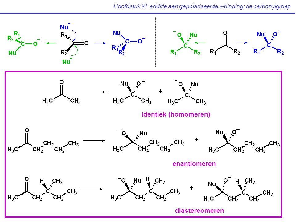 Hoofdstuk XI: additie aan gepolariseerde  -binding: de carbonylgroep identiek (homomeren) enantiomeren diastereomeren