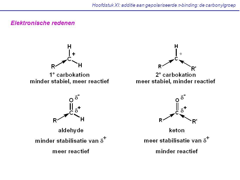 Hoofdstuk XI: additie aan gepolariseerde  -binding: de carbonylgroep Elektronische redenen