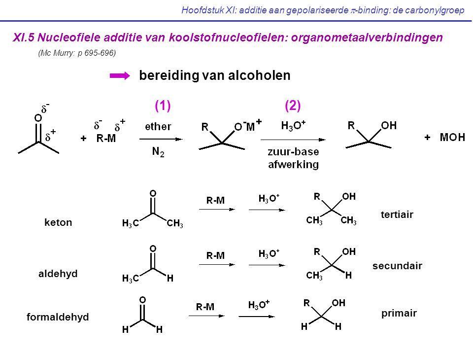 Hoofdstuk XI: additie aan gepolariseerde  -binding: de carbonylgroep XI.5 Nucleofiele additie van koolstofnucleofielen: organometaalverbindingen (Mc Murry: p 695-696) bereiding van alcoholen (1)(2) keton aldehyd formaldehyd tertiair secundair primair