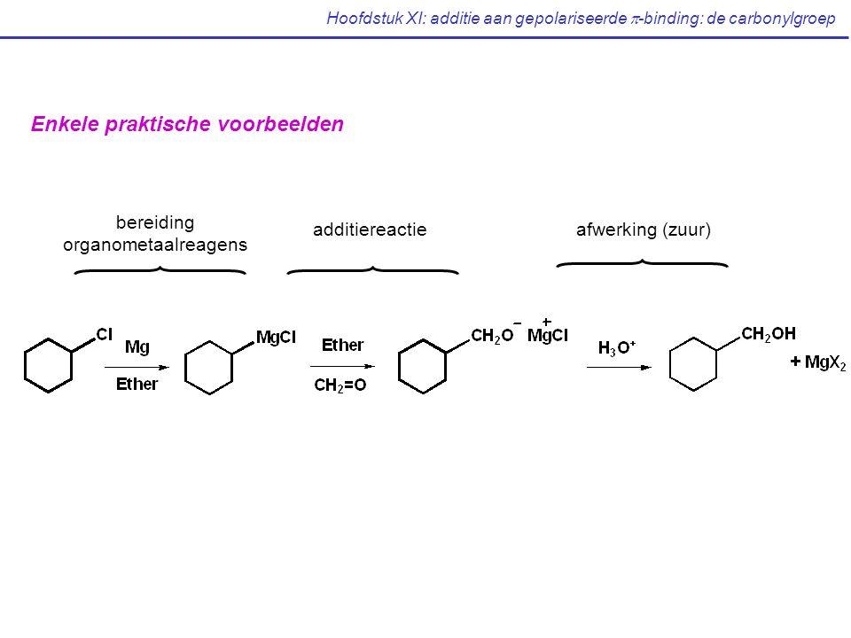 Hoofdstuk XI: additie aan gepolariseerde  -binding: de carbonylgroep Enkele praktische voorbeelden bereiding organometaalreagens additiereactieafwerking (zuur)