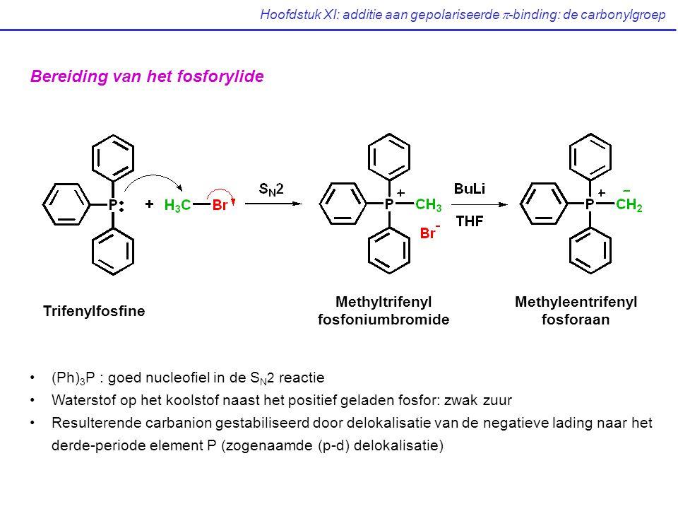 Hoofdstuk XI: additie aan gepolariseerde  -binding: de carbonylgroep Bereiding van het fosforylide Trifenylfosfine Methyltrifenyl fosfoniumbromide Methyleentrifenyl fosforaan (Ph) 3 P : goed nucleofiel in de S N 2 reactie Waterstof op het koolstof naast het positief geladen fosfor: zwak zuur Resulterende carbanion gestabiliseerd door delokalisatie van de negatieve lading naar het derde-periode element P (zogenaamde (p-d) delokalisatie)
