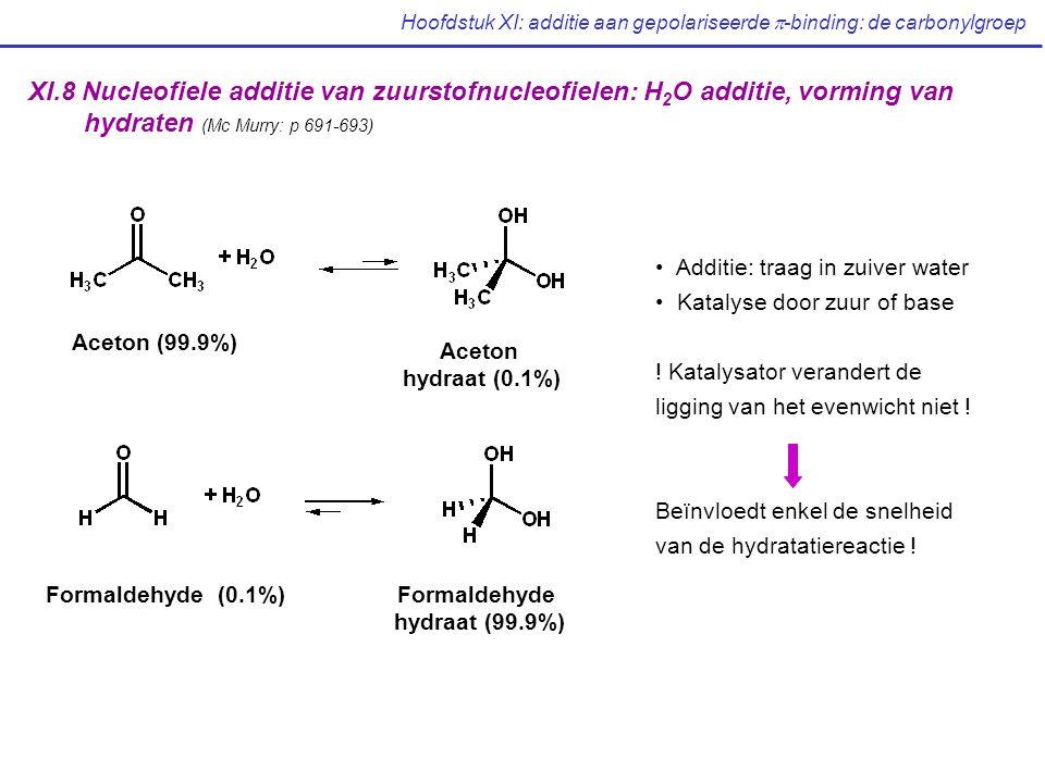 Hoofdstuk XI: additie aan gepolariseerde  -binding: de carbonylgroep XI.8 Nucleofiele additie van zuurstofnucleofielen: H 2 O additie, vorming van hydraten (Mc Murry: p 691-693) Aceton (99.9%) Aceton hydraat (0.1%) Formaldehyde (0.1%)Formaldehyde hydraat (99.9%) Additie: traag in zuiver water Katalyse door zuur of base .