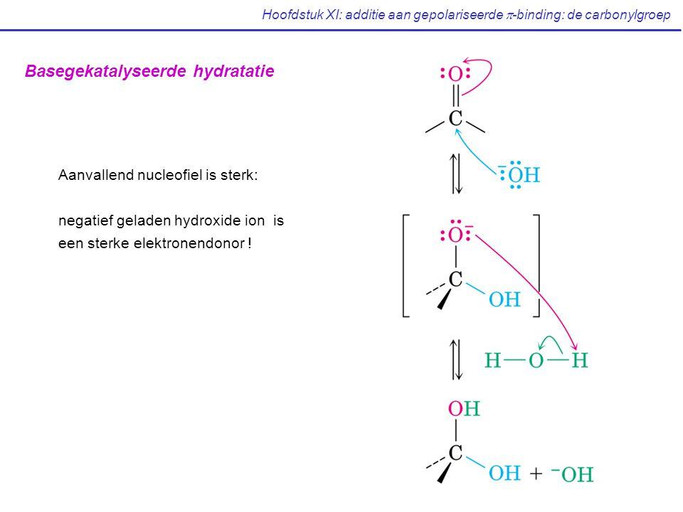 Hoofdstuk XI: additie aan gepolariseerde  -binding: de carbonylgroep Basegekatalyseerde hydratatie Aanvallend nucleofiel is sterk: negatief geladen hydroxide ion is een sterke elektronendonor !