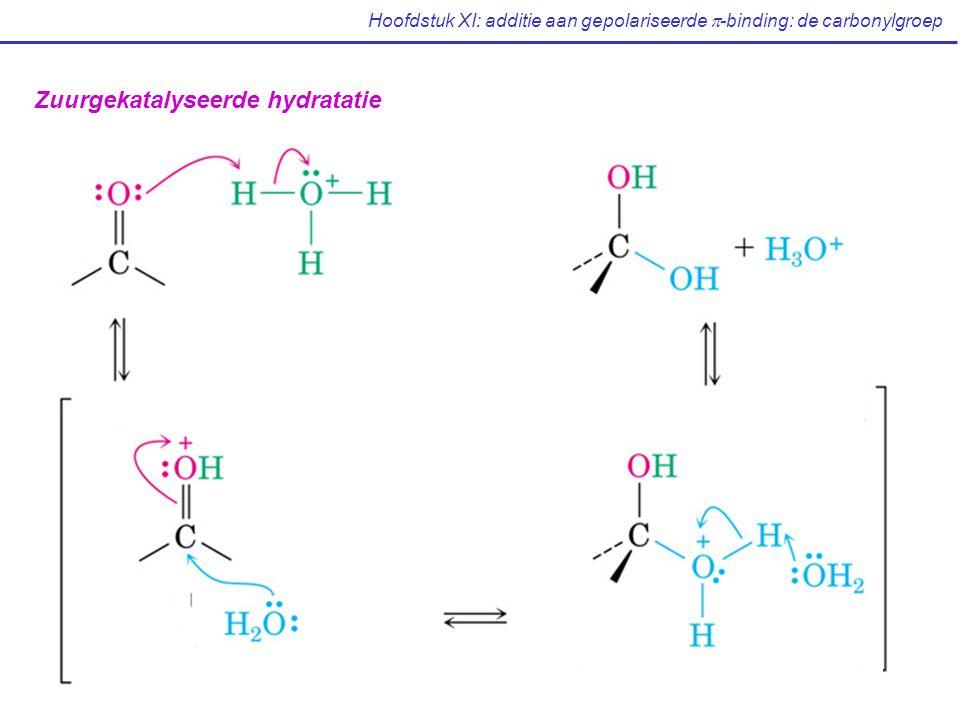 Hoofdstuk XI: additie aan gepolariseerde  -binding: de carbonylgroep Zuurgekatalyseerde hydratatie