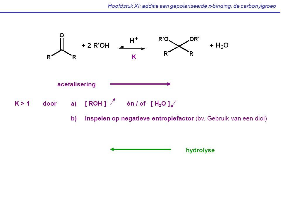 Hoofdstuk XI: additie aan gepolariseerde  -binding: de carbonylgroep acetalisering hydrolyse K K > 1doora)[ ROH ] én / of [ H 2 O ] b)Inspelen op negatieve entropiefactor (bv.
