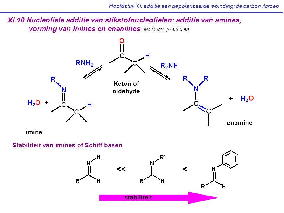 Hoofdstuk XI: additie aan gepolariseerde  -binding: de carbonylgroep XI.10 Nucleofiele additie van stikstofnucleofielen: additie van amines, vorming van imines en enamines (Mc Murry: p 696-699) Keton of aldehyde imine enamine <<< Stabiliteit van imines of Schiff basen stabiliteit