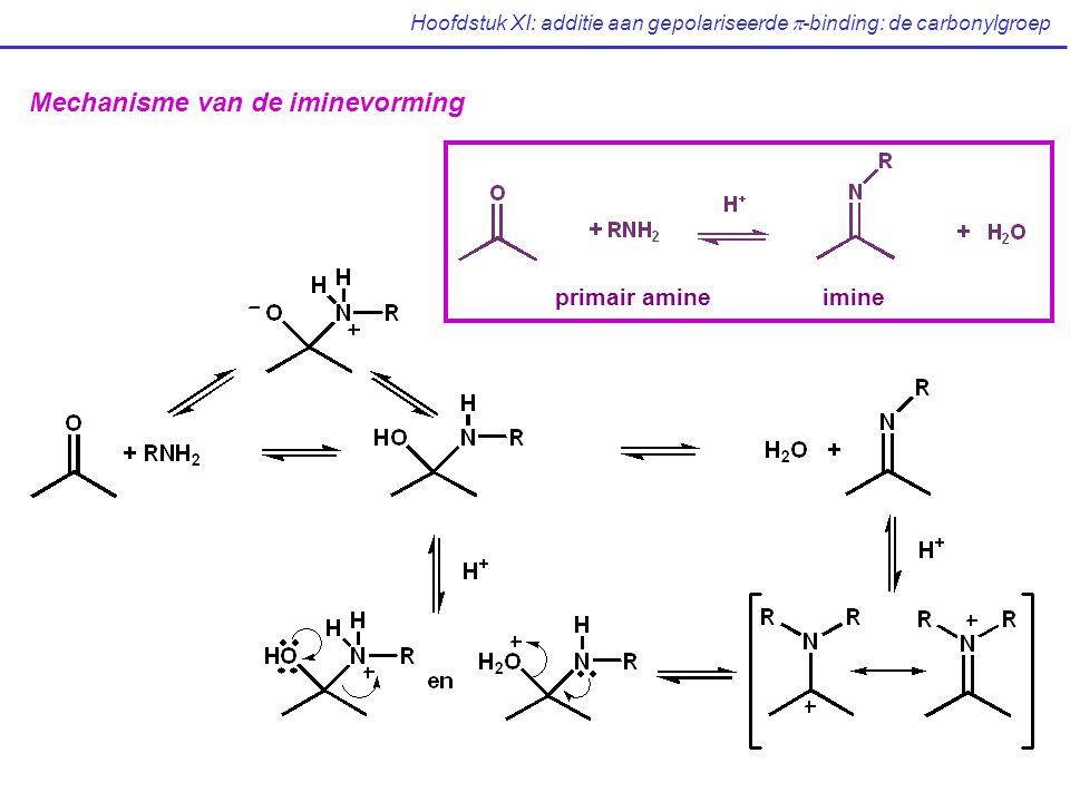 Hoofdstuk XI: additie aan gepolariseerde  -binding: de carbonylgroep Mechanisme van de iminevorming primair amineimine