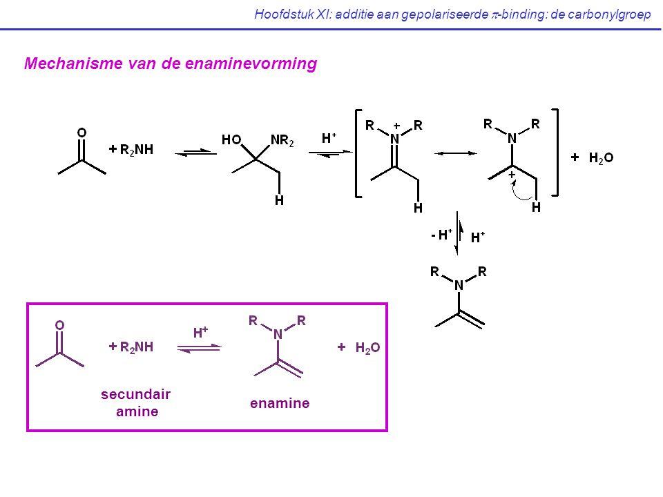 Hoofdstuk XI: additie aan gepolariseerde  -binding: de carbonylgroep Mechanisme van de enaminevorming secundair amine enamine