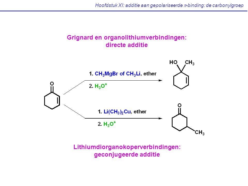 Hoofdstuk XI: additie aan gepolariseerde  -binding: de carbonylgroep Grignard en organolithiumverbindingen: directe additie Lithiumdiorganokoperverbindingen: geconjugeerde additie