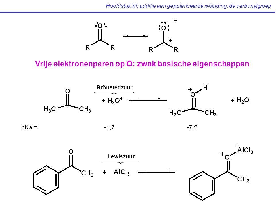 Hoofdstuk XI: additie aan gepolariseerde  -binding: de carbonylgroep Vrije elektronenparen op O: zwak basische eigenschappen Brönstedzuur pKa = -1,7-7.2 Lewiszuur