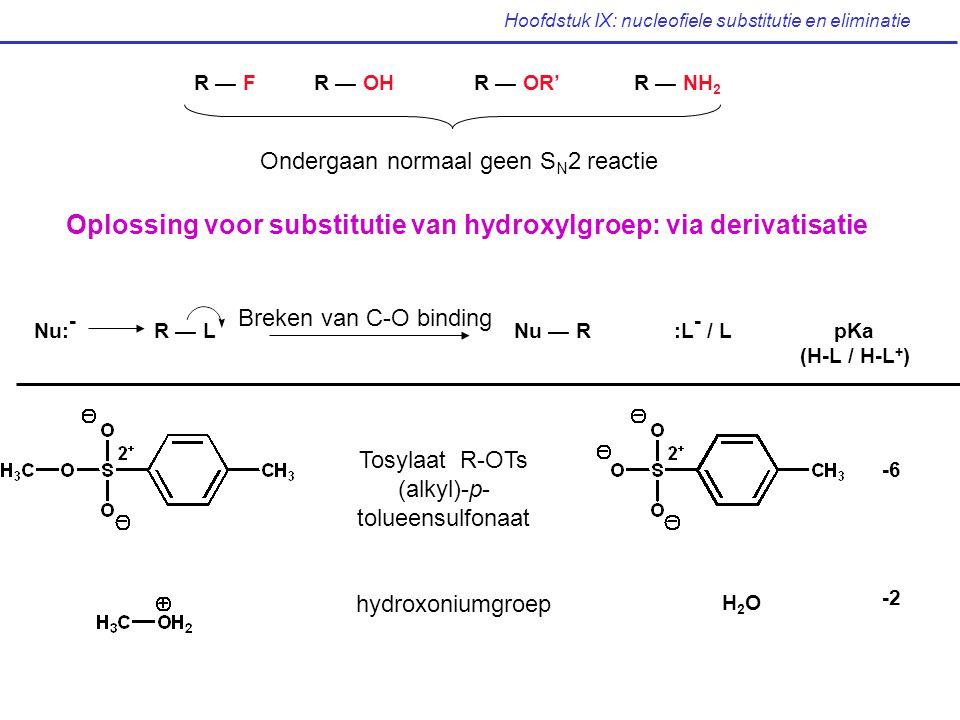 Hoofdstuk IX: nucleofiele substitutie en eliminatie R — FR — OHR — OR'R — NH 2 Ondergaan normaal geen S N 2 reactie Oplossing voor substitutie van hyd