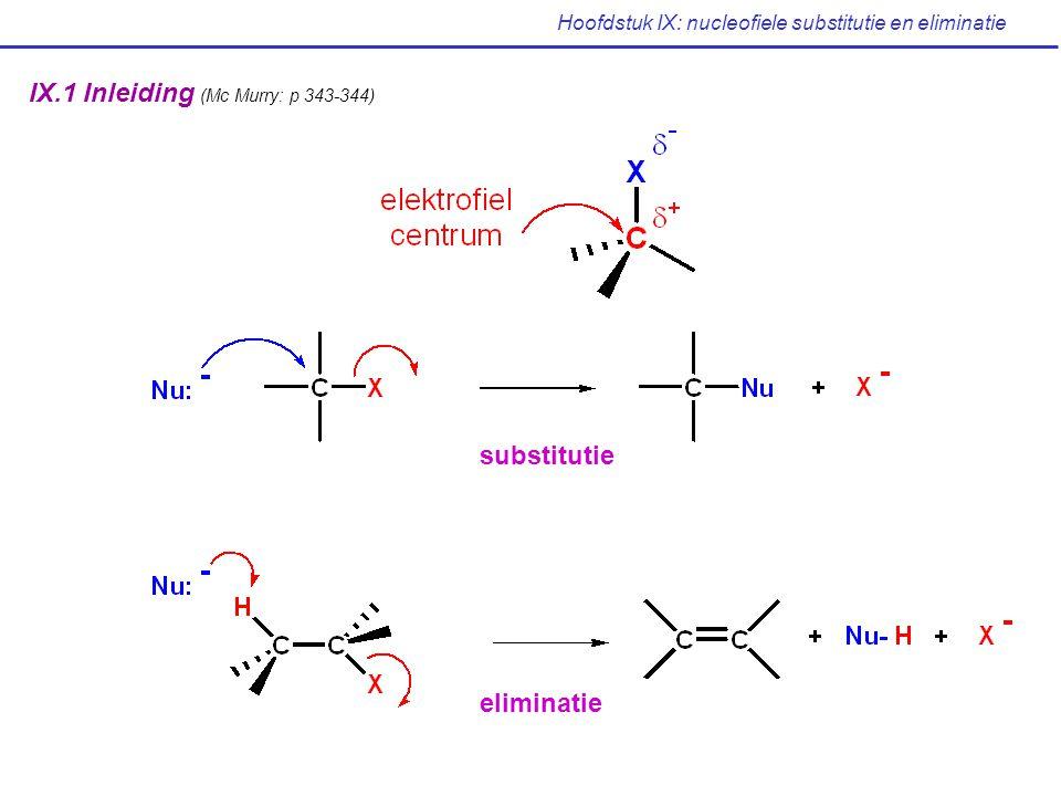 Hoofdstuk IX: nucleofiele substitutie en eliminatie IX.15 Samenvatting van reactiviteit: S N 1, S N 2, E1, E2 (Mc Murry: p 376-378) Halogeenalkaan S N 1 S N 2 E1E2 RCH 2 X /zeer gunstig / treedt op met sterke basen (primair) R 2 CHXmet benzylische in competitie met benzylische bevoordeligd (secundair) en allylische met E2 en allylische met sterke basen substraten substraten R 3 CXbevoordeligd/ treedt op inbevoordeligd (tertiair)in hydroxyl- competitie met met sterke basen bevattende S N 1 reactie solventen