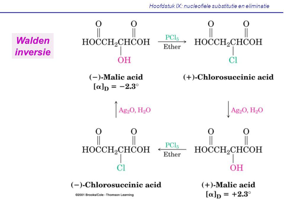 Hoofdstuk IX: nucleofiele substitutie en eliminatie Het nucleofiel Nucleofiel komt pas tussen na de SBS Beinvloedt de reactiesnelheid niet zelfde reactiesnelheid voor HCl, HBr of HI Neutrale nucleofielen even effectief als geladen S N 1 reacties dikwijls onder neutrale of zure omstandigheden