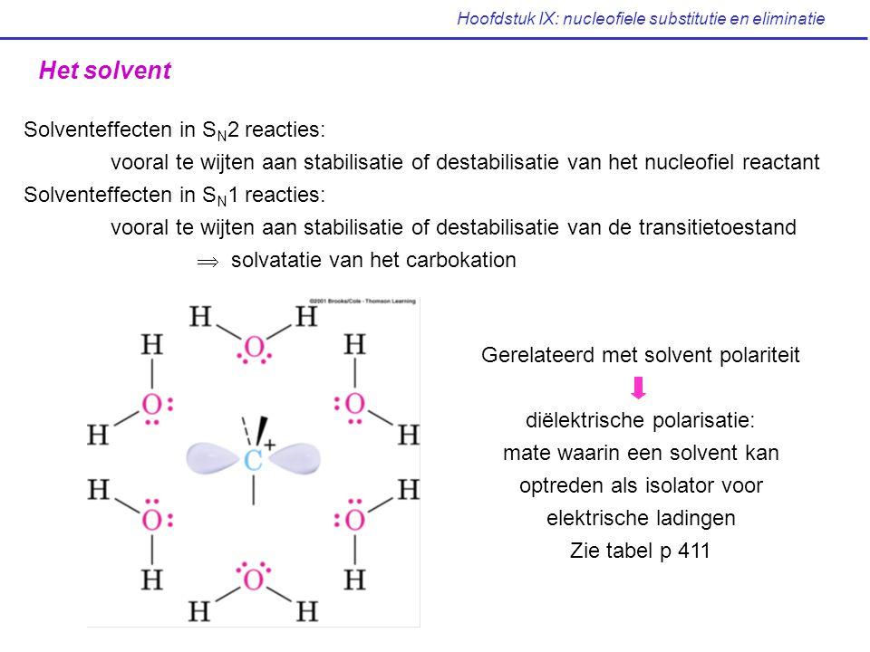 Hoofdstuk IX: nucleofiele substitutie en eliminatie Het solvent Solventeffecten in S N 2 reacties: vooral te wijten aan stabilisatie of destabilisatie