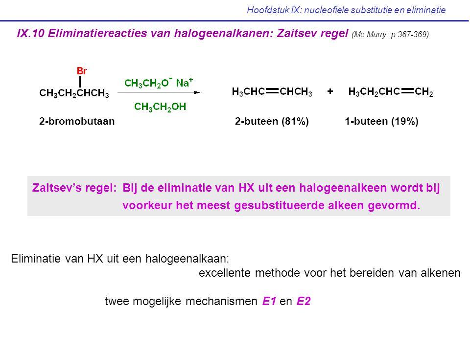 Hoofdstuk IX: nucleofiele substitutie en eliminatie IX.10 Eliminatiereacties van halogeenalkanen: Zaitsev regel (Mc Murry: p 367-369) 2-bromobutaan2-b
