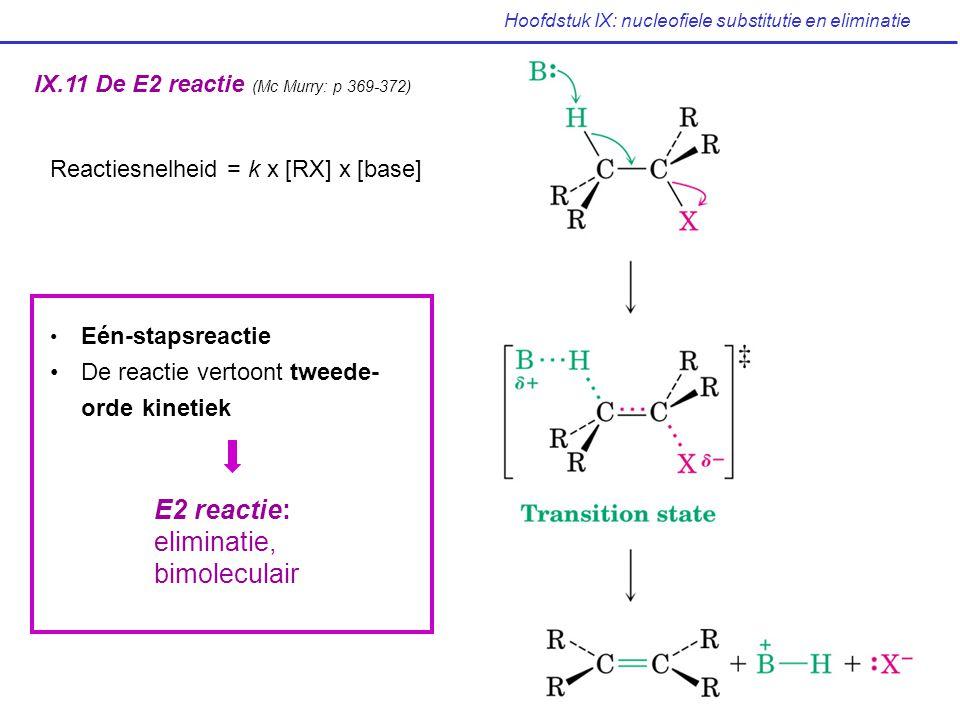 Hoofdstuk IX: nucleofiele substitutie en eliminatie IX.11 De E2 reactie (Mc Murry: p 369-372) Eén-stapsreactie De reactie vertoont tweede- orde kineti