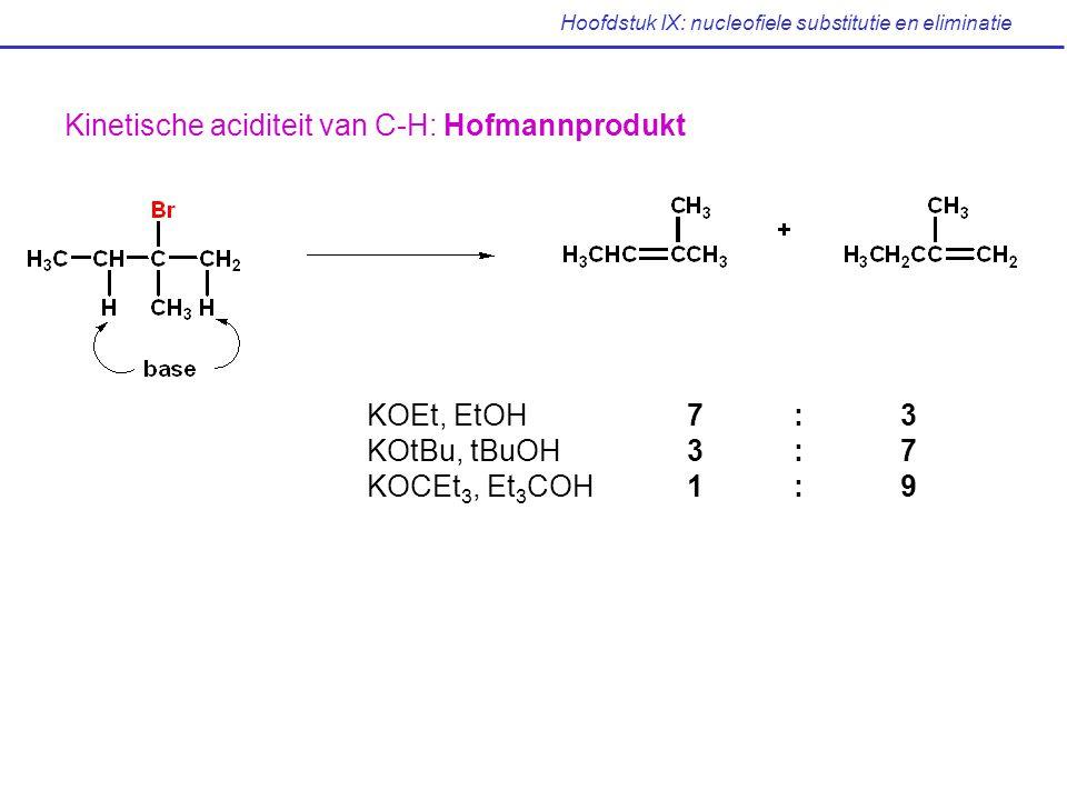 Hoofdstuk IX: nucleofiele substitutie en eliminatie Kinetische aciditeit van C-H: Hofmannprodukt KOEt, EtOH7:3 KOtBu, tBuOH3: 7 KOCEt 3, Et 3 COH1:9