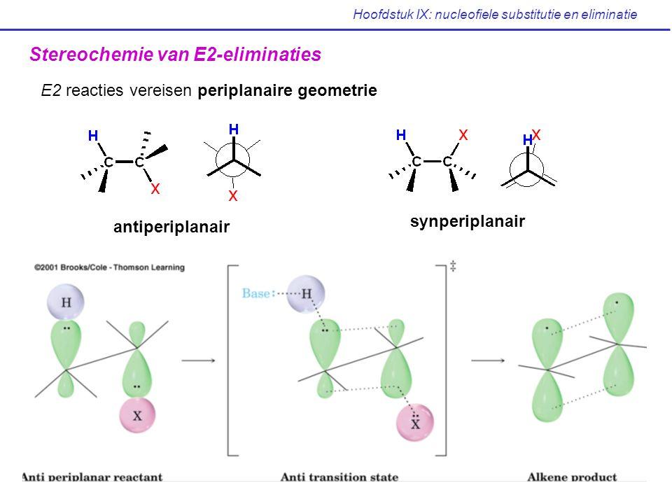 Hoofdstuk IX: nucleofiele substitutie en eliminatie Stereochemie van E2-eliminaties E2 reacties vereisen periplanaire geometrie antiperiplanair synper