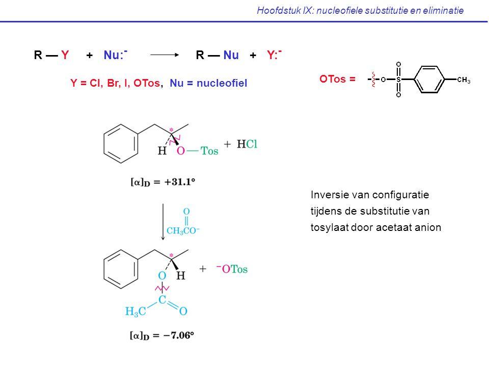 Hoofdstuk IX: nucleofiele substitutie en eliminatie R — Y + Nu: - R — Nu + Y: - Y = Cl, Br, I, OTos, Nu = nucleofiel OTos = Inversie van configuratie