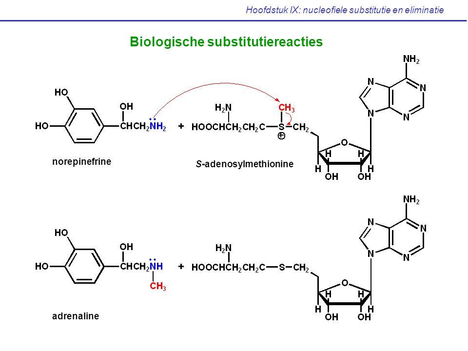 Hoofdstuk IX: nucleofiele substitutie en eliminatie Biologische substitutiereacties norepinefrine S-adenosylmethionine adrenaline