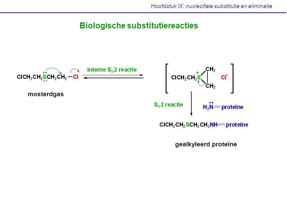 Hoofdstuk IX: nucleofiele substitutie en eliminatie Biologische substitutiereacties mosterdgas gealkyleerd proteïne